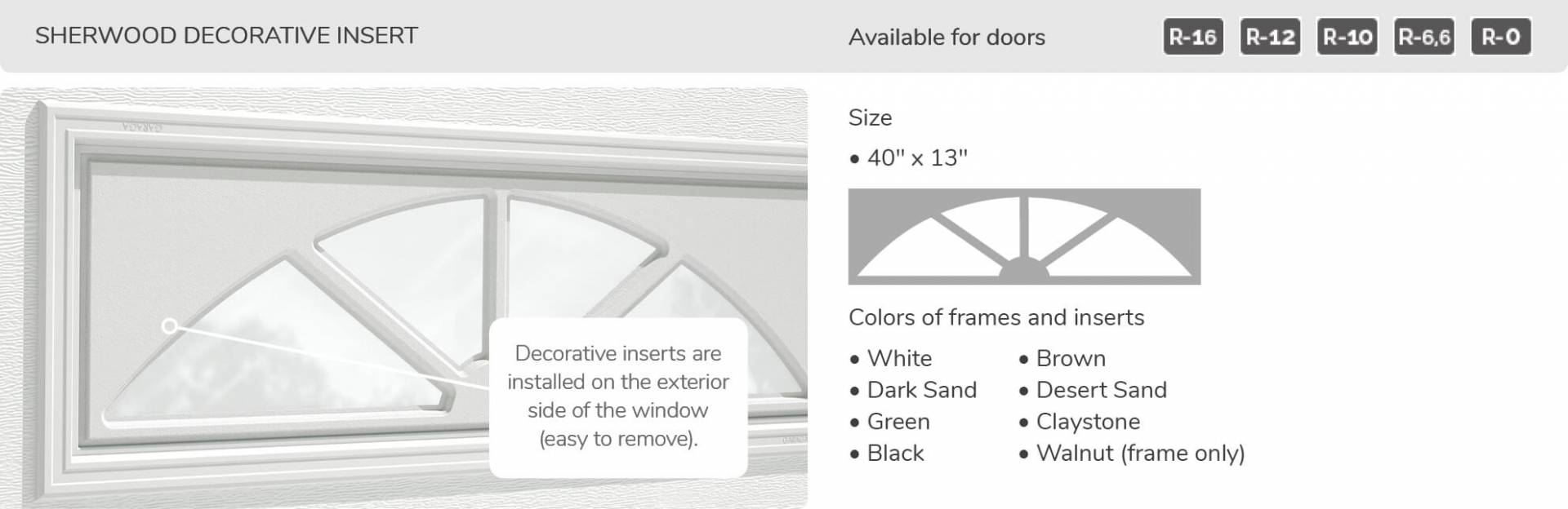 Sherwood Decorative Insert, 40' x 13', available for doors: R-16, R-12, R-10, R-6.6, R-0