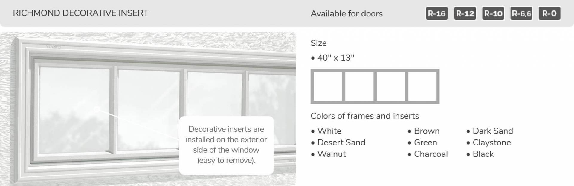 Richmond Decorative Insert, 40' x 13', available for doors: R-16, R-12, R-10, R-6.6, R-0